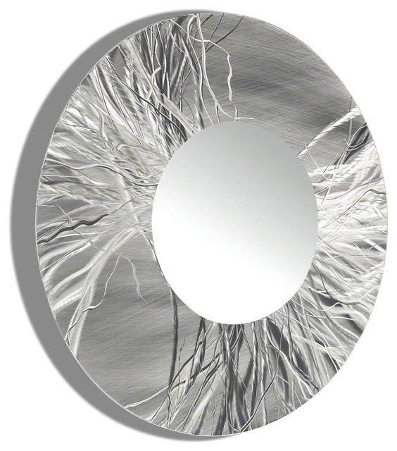 Large framed round wall mirror handmade silver modern for Large contemporary mirrors