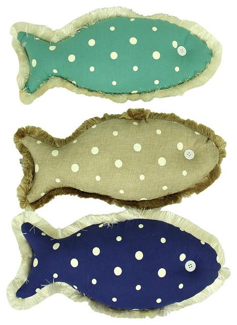 Zeckos polkadot canvas fish shaped accent pillows 3 piece for Fish shaped pillow