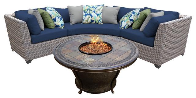 Florence 4 Piece Outdoor Wicker Patio Furniture Set 04d