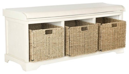 Lonan Wicker Storage Bench in White Finish