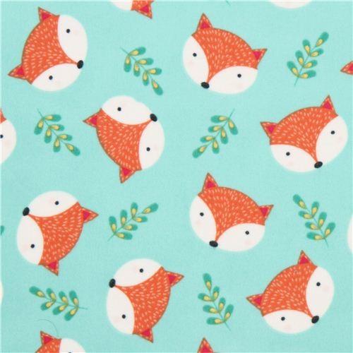 mint green fox animal flannel fabric Timeless Treasures USA