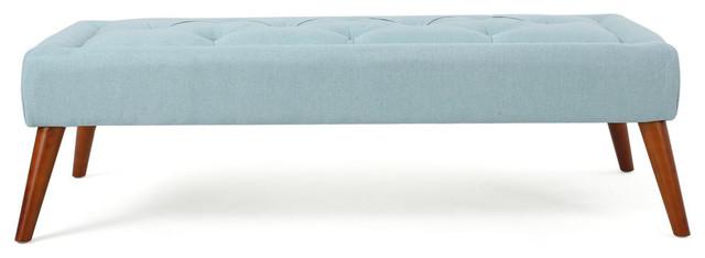 GDF Studio Pyram Mid Century Modern Ottoman Bench, Blue