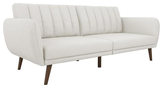 Modern Sofa Futon, Premium Linen Upholstery And Wooden Legs, Grey.