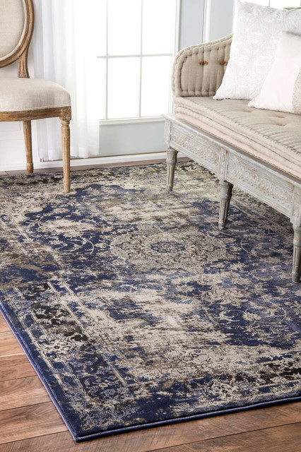 Faded Crowned Rosette Area Rugs, Blue, 9'x12'