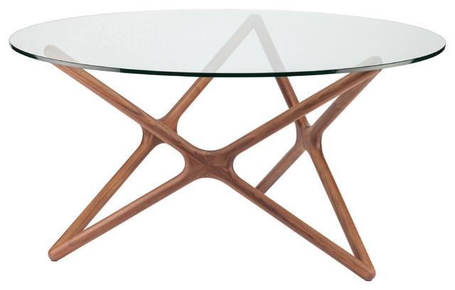 Centauri Modern Glass Top Wood Mid Century Dining Table 40D