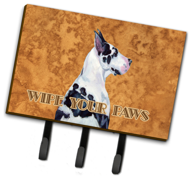 Harlequin Great Dane Wipe Your Paws Leash Key Holder Large Contemporary Wall Hooks By Virventures