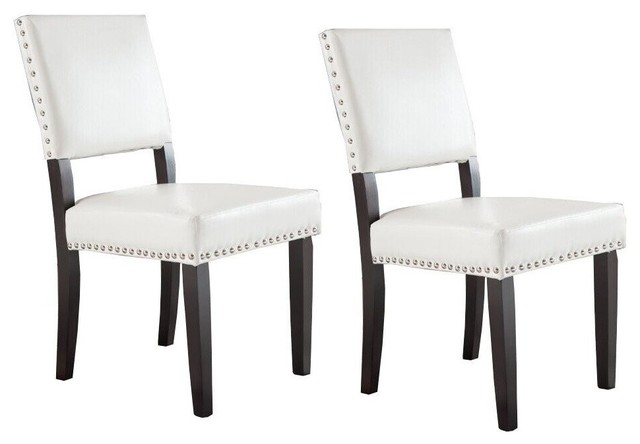 White And Dark Cherry Nailhead Trim Accent Dining Room Chairs Set Of 2 Transitional Dining Chairs By Virventures