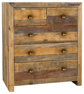 Norman Reclaimed Pine 5 Drawer Dresser Distressed Natural By Kosas