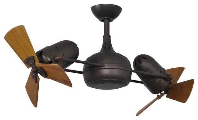 Matthews Fan Co. Dagny W/wood Blades Ceiling Fan, Textured Bronze, 41.