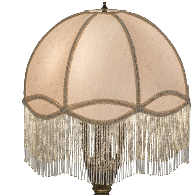 Fabric and Fringe Dome Replacement Shade - Traditional - Lamp ...