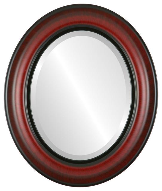 Lancaster Framed Oval Mirror In Vintage Cherry, 21x25.