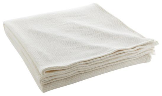 Thermal Weave Wool Blanket Bone White Twin