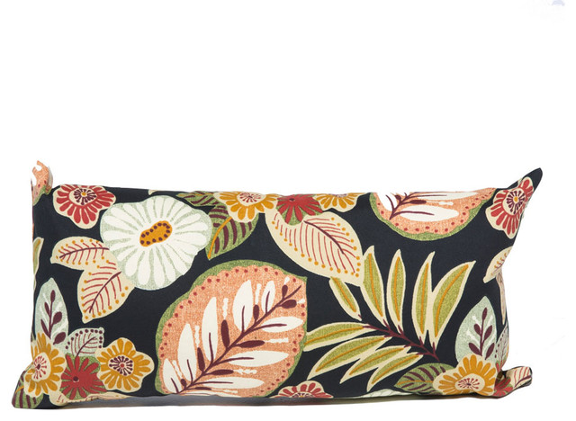 Black Tropical Floral Outdoor Throw Pillows Rectangle, Set Of 2, Black  Outdoor Cushions