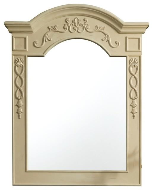 "European Traditions 29"" Mirror, Antique White."