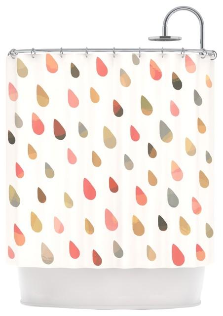 Daisy Beatrice Opal Drops Dusk Peach White Shower Curtain