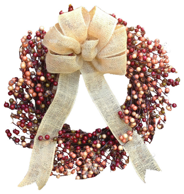 Vibrant Fall Berry Wreath With Burlap Bow 22