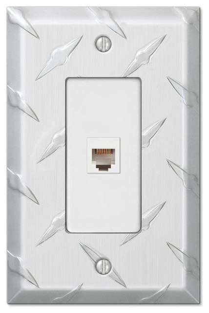 Diamond Plate Aluminum Phone Jack Wall Plate Industrial Switch Plates And Outlet Covers By Amertac Houzz