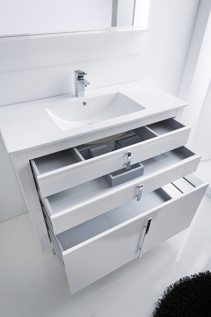 Roma Bathroom Vanity 40 White High Gloss Lacquered Contemporary Miami By Macral Design Corp Houzz Ie
