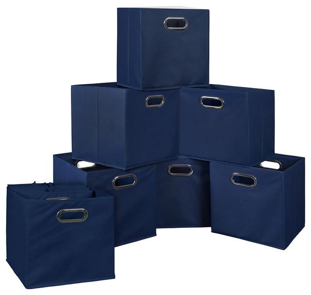 Niche Cubo, Set Of 12, Foldable Fabric Storage Bins, Blue Modern Storage