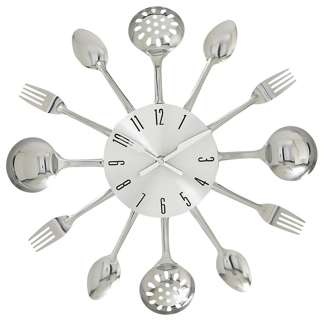 Kitchen Whimsy Metal Kitchen Wall Clock, Multi Color Midcentury Wall Clocks