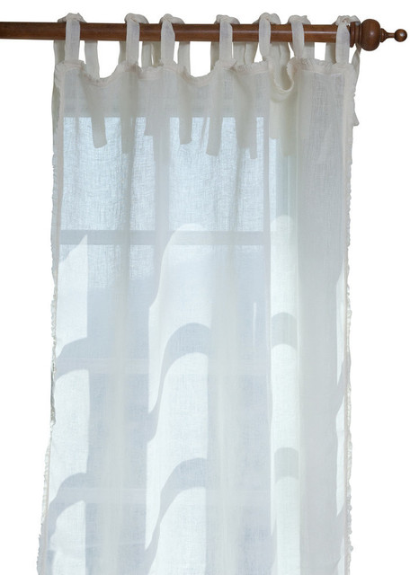 Ruffle Linen Curtain Panel - Traditional - Curtains - by Taylor Linens