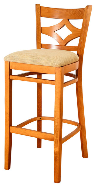 Curtain Back Bar Stool, Cherry, Beige.