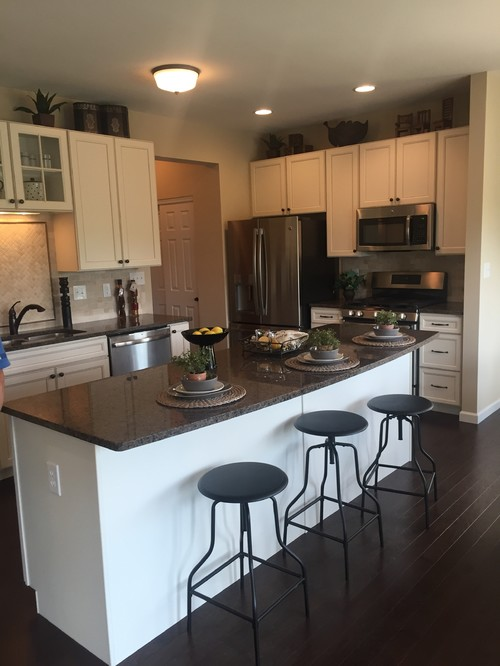 Antique white cabinets--countertop dilemma