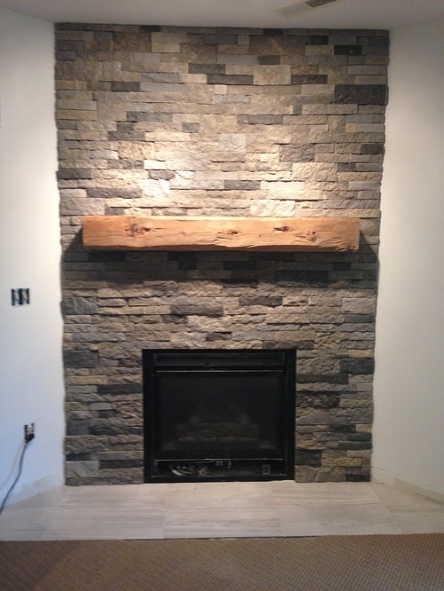 Before And After Basement Fireplace With Airstone