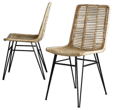 Rattan and Metal Dining Chairs, Set of 2