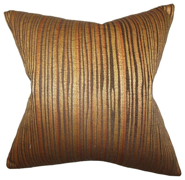 Litzy Stripes Pillow Gold - Contemporary - Decorative Pillows - by The Pillow Collection Inc.