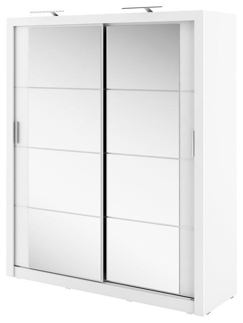 Tulsa 2-Door Sliding Wardrobe, Matte White, No LED Lighting