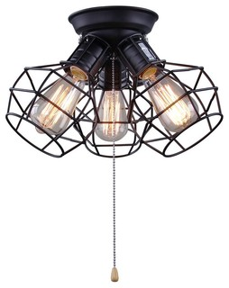 Wire Cage Ceiling Light 3 Light Pull String Ceiling Lamp