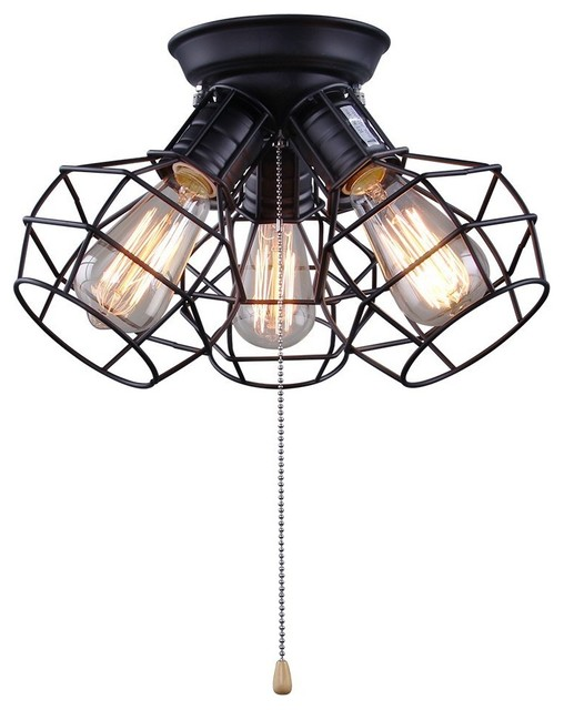 Wire cage ceiling light 3 light pull string ceiling lamp for wire cage ceiling light 3 light pull string ceiling lamp for living room industrial mozeypictures Images