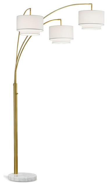 Broadway 3-Light Arch Floor Lamp, Antique Brass/White