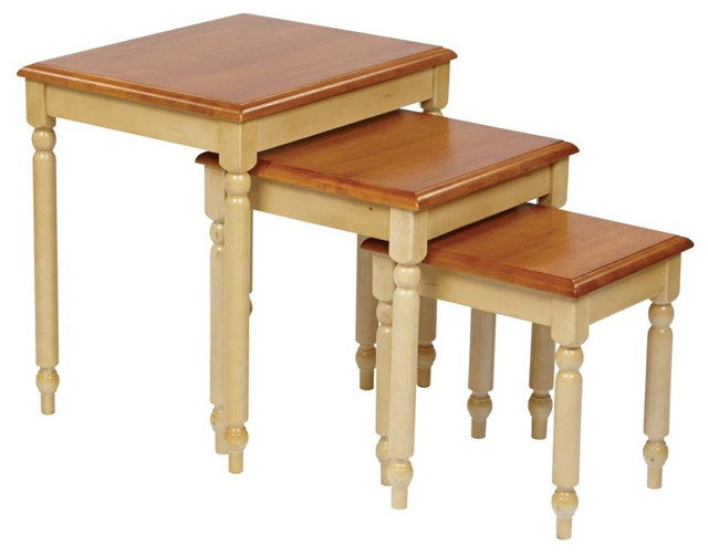 Shop Houzz Office Star Products Office Star Country Cottage 3 Piece Nesting Tables In Antique