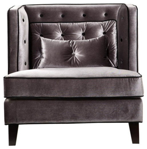 Moulin Velvet Sofa Chair With Piping Armchairs And Accent Chairs
