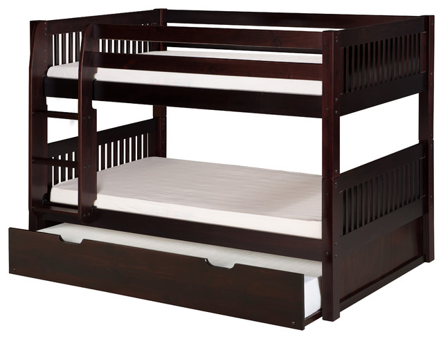 Camaflexi Twin Low Bunk Bed With Trundle Mission Headboard Cuccino Transitional