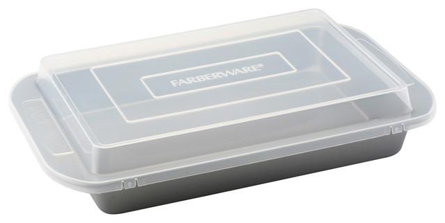 Farberware Nonstick Bakeware 9-Inch X 13-Inch Covered Rectangular Cake Pan, Gray.