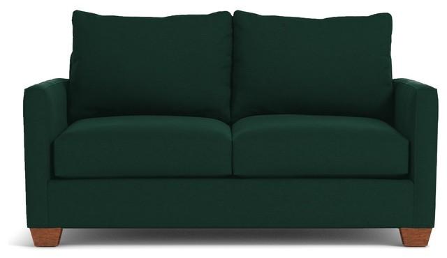 Tuxedo Apartment Size Sofa, Evergreen Velvet, 69\