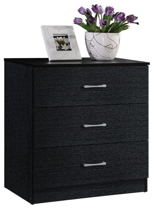 3-Drawer Chest, Black