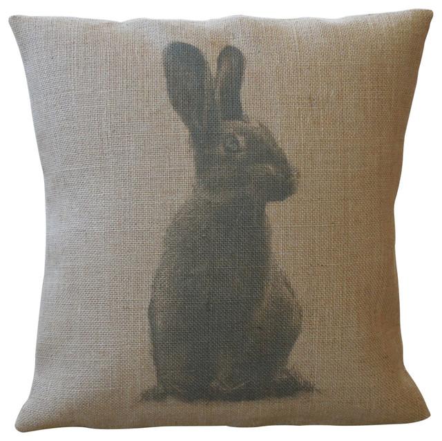 """Peter Rabbit Burlap Pillow, 16""""x16""""."""