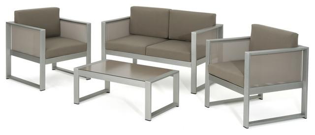 Felix Outdoor Gray Mesh Chat Set With Rust-Proof Aluminum Frame, Khaki.