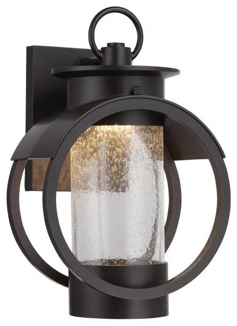 1 Light Led Wall Lantern With Burnished Bronze Finish.