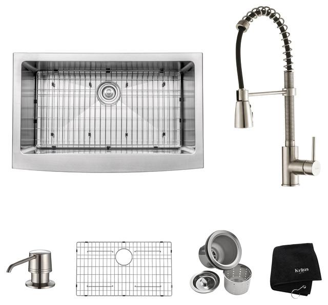 "Farmhouse Single Stainless Steel Kitchen Sink Set, Stainless Steel, 33""."