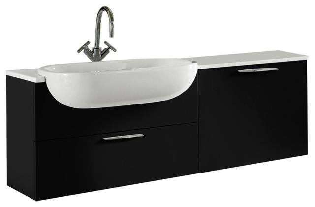 Today Vanity, Quartz Countertop And Ceramic Washbasin, Glossy Black.