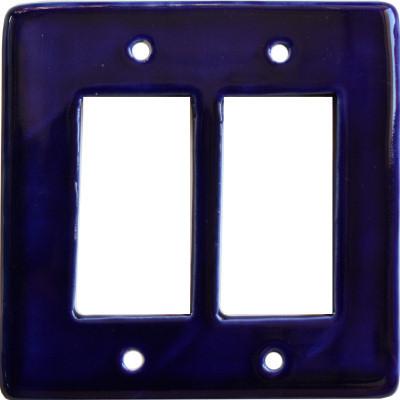 Cobalt Blue Talavera Double Decora Switch Plate
