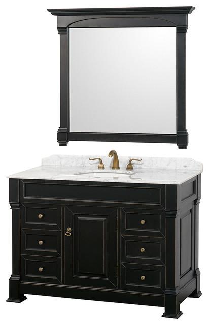 48 Inch Single Bathroom Vanity, Black, White Carrera Marble Countertop, Under.
