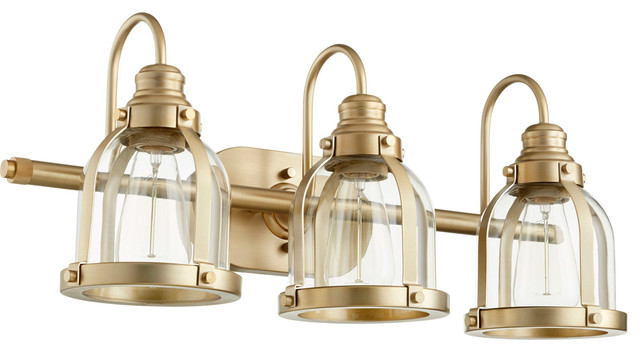 Signature 3-Light Bathroom Vanity Lights, Aged Brass.