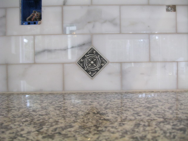 Beautiful Backsplash  Calacatta Marble And Antique Pewter Traditional