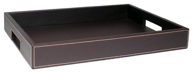 Kraftware Brown Stitching Vanity Tray.